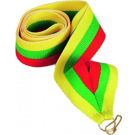 Wstążka w kolorach czerwono-zielono-żółty z zapinką do medalu -  V8-R/GN/Y.  Szerokość: 11 mm.