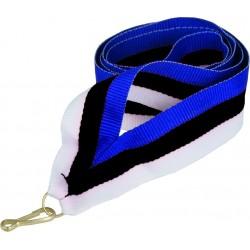 """Wstążka do medalu - """"Niebiesko-czarno-biały"""" 22 mm - V2-BL/BK/W"""