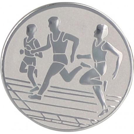 Emblemat samoprzylepny srebrny - lekkoatletyka / biegi - D1-A32/S