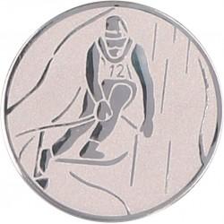 Emblemat samoprzylepny srebrny - narciarstwo alpejskie - D1-A93/S